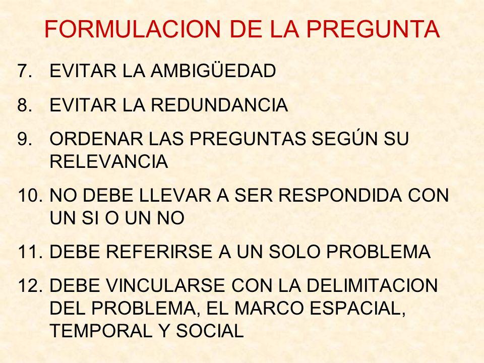 FORMULACION DE LA PREGUNTA 7.EVITAR LA AMBIGÜEDAD 8.EVITAR LA REDUNDANCIA 9.ORDENAR LAS PREGUNTAS SEGÚN SU RELEVANCIA 10.NO DEBE LLEVAR A SER RESPONDI