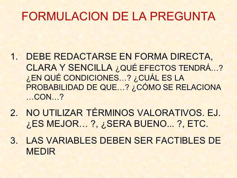 FORMULACION DE LA PREGUNTA 4.EL VERBO RELACIONAL DEBE IR EN TIEMPO FUTURO PORQUE ES UNA PREGUNTA QUE SE SOMETERÁ A INVESTIGACIÓN 5.EL PROBLEMA DEBE DE EXPRESAR UNA RELACIÓN ENTRE DOS O MÁS VARIABLES 6.DEBE SER FACTIBLE DE SER SOMETIDO A UNA PRUEBA EMPÍRICA (ENFOQUE CUANTITATIVO) O UNA RECOLECCIÓN DE DATOS (ENFOQUE CUALITATIVO).