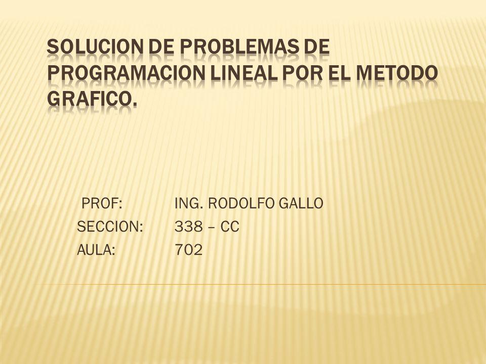 PROF: ING. RODOLFO GALLO SECCION: 338 – CC AULA:702