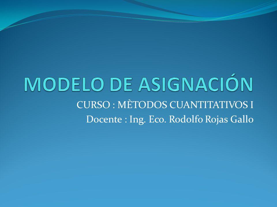 CURSO : MÈTODOS CUANTITATIVOS I Docente : Ing. Eco. Rodolfo Rojas Gallo