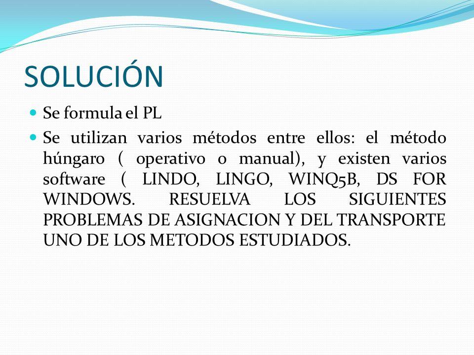SOLUCIÓN Se formula el PL Se utilizan varios métodos entre ellos: el método húngaro ( operativo o manual), y existen varios software ( LINDO, LINGO, W