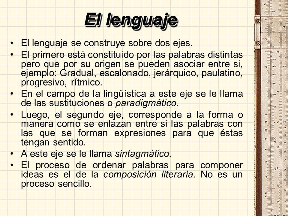 El lenguaje El lenguaje se construye sobre dos ejes. El primero está constituido por las palabras distintas pero que por su origen se pueden asociar e