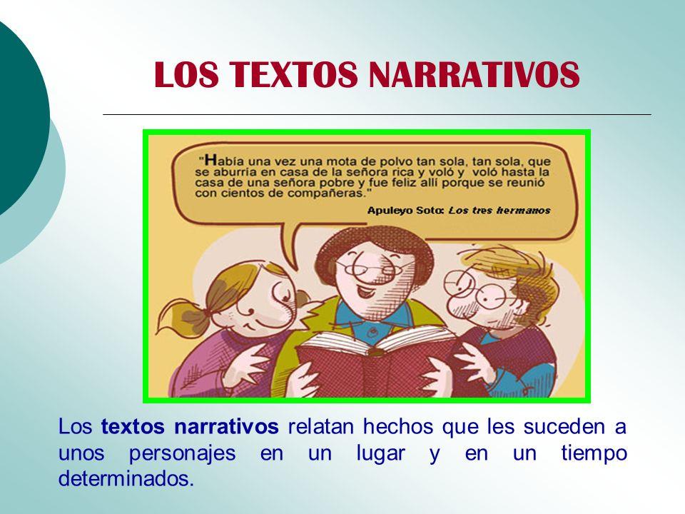 LOS TEXTOS NARRATIVOS Los textos narrativos relatan hechos que les suceden a unos personajes en un lugar y en un tiempo determinados.