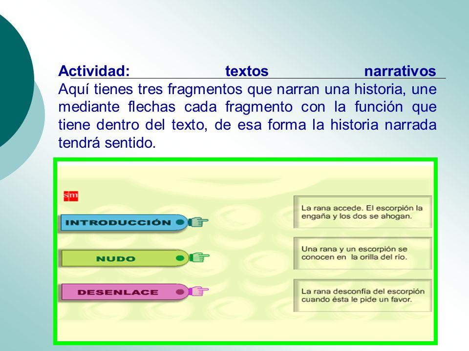 Actividad: textos narrativos Aquí tienes tres fragmentos que narran una historia, une mediante flechas cada fragmento con la función que tiene dentro
