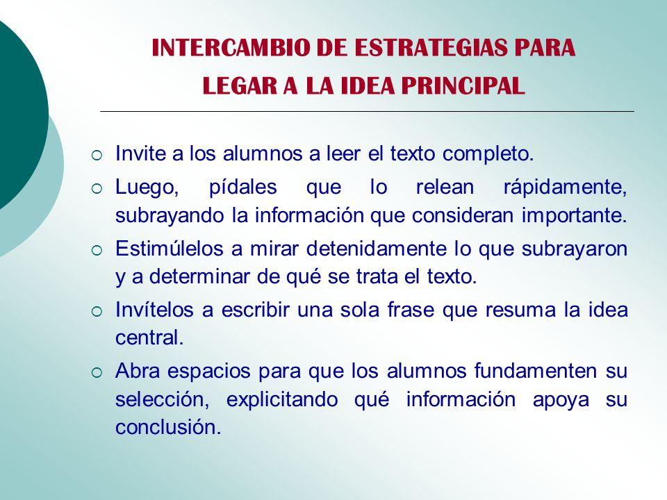 INTERCAMBIO DE ESTRATEGIAS PARA LEGAR A LA IDEA PRINCIPAL Invite a los alumnos a leer el texto completo. Luego, pídales que lo relean rápidamente, sub