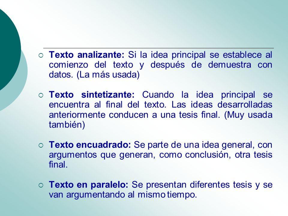 Texto analizante: Si la idea principal se establece al comienzo del texto y después de demuestra con datos. (La más usada) Texto sintetizante: Cuando