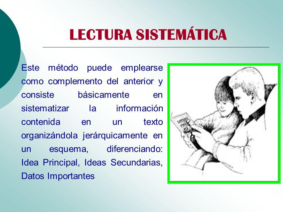 LECTURA SISTEMÁTICA Este método puede emplearse como complemento del anterior y consiste básicamente en sistematizar la información contenida en un te