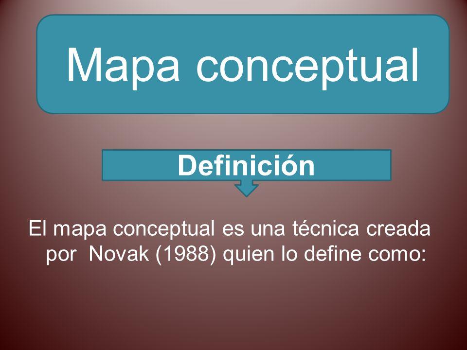 El mapa conceptual es una técnica creada por Novak (1988) quien lo define como: Mapa conceptual Definición