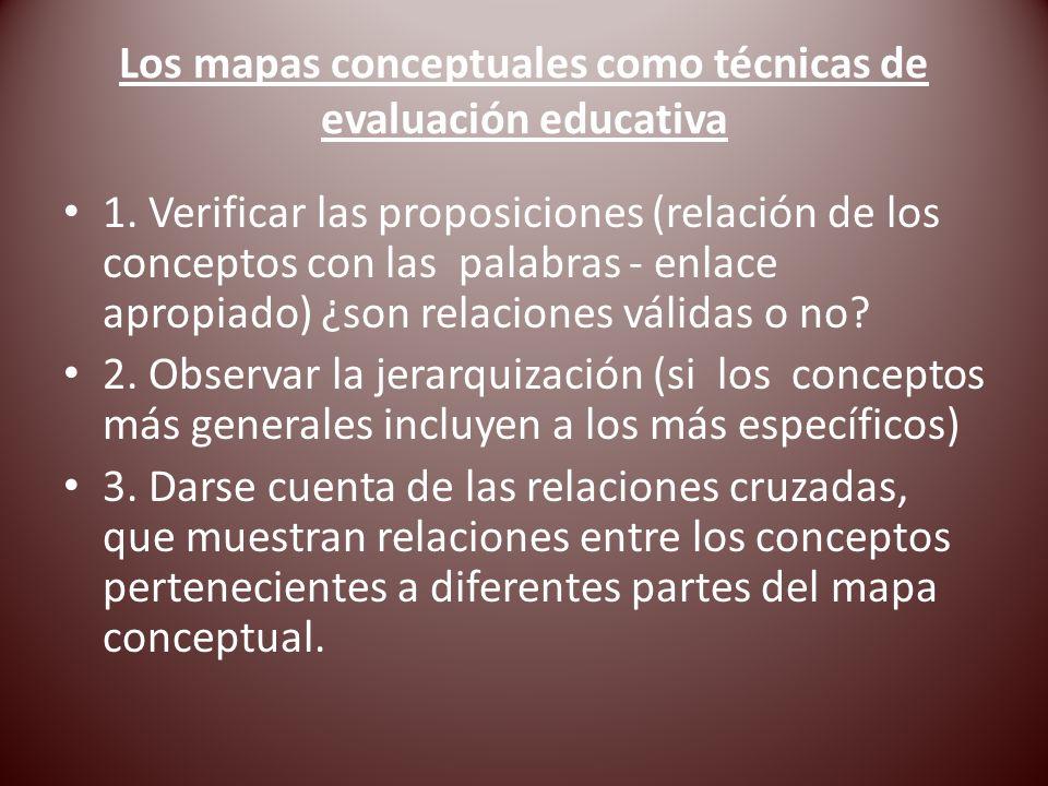 Los mapas conceptuales como técnicas de evaluación educativa 1. Verificar las proposiciones (relación de los conceptos con las palabras - enlace aprop