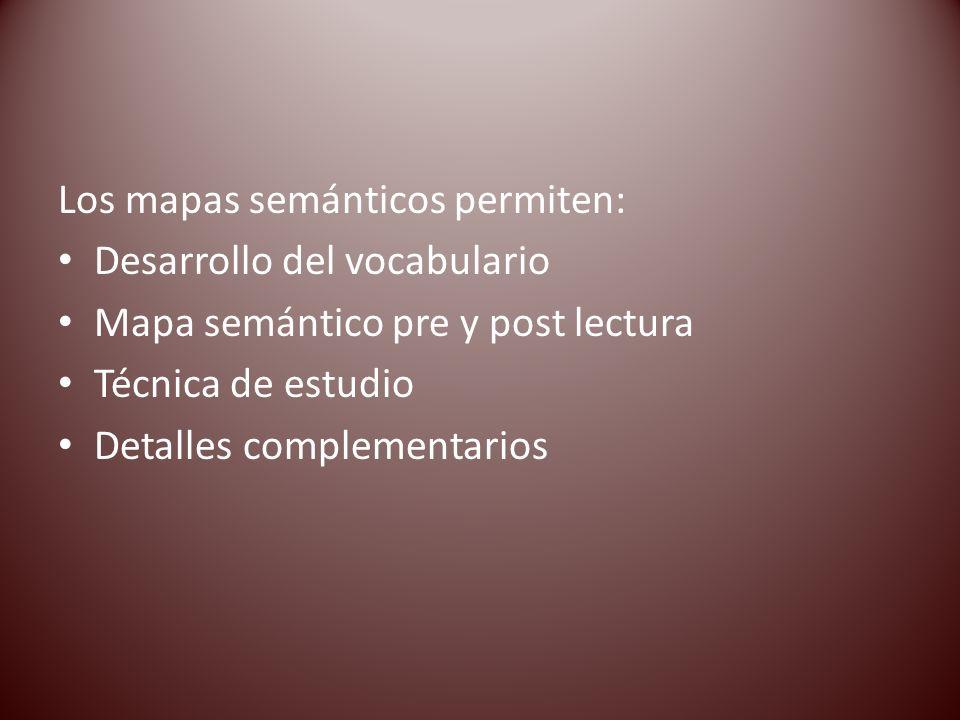 Los mapas semánticos permiten: Desarrollo del vocabulario Mapa semántico pre y post lectura Técnica de estudio Detalles complementarios