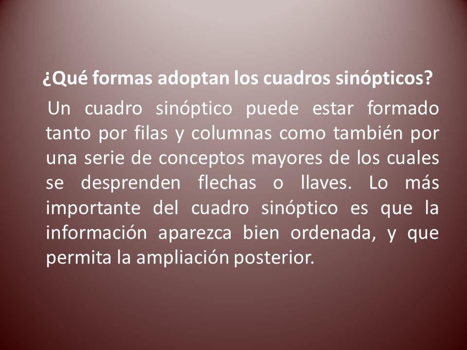 ¿Qué formas adoptan los cuadros sinópticos? Un cuadro sinóptico puede estar formado tanto por filas y columnas como también por una serie de conceptos