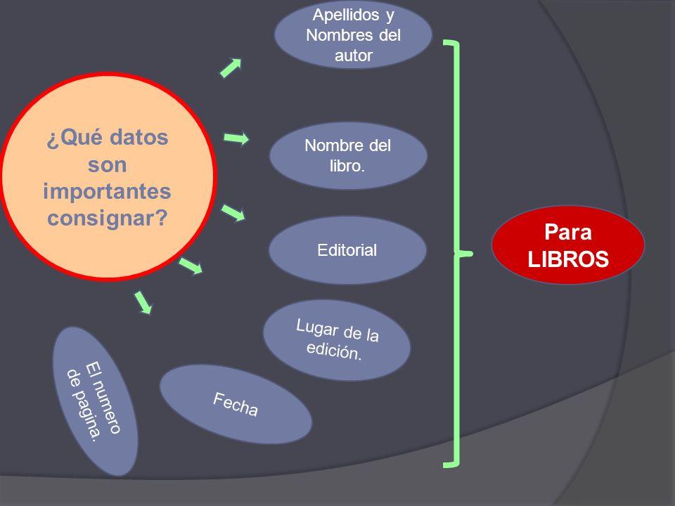 ¿Qué datos son importantes consignar.Apellidos y Nombres del autor Nombre del Articulo.