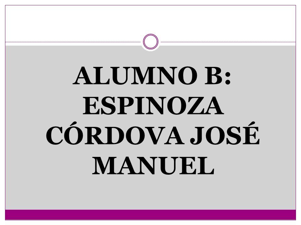 ALUMNO B: ESPINOZA CÓRDOVA JOSÉ MANUEL