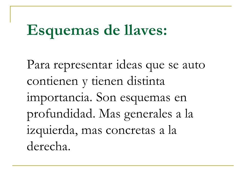 Esquemas de llaves: Para representar ideas que se auto contienen y tienen distinta importancia. Son esquemas en profundidad. Mas generales a la izquie