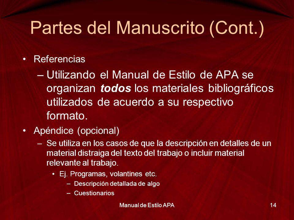 Partes del Manuscrito (Cont.) Referencias –Utilizando el Manual de Estilo de APA se organizan todos los materiales bibliográficos utilizados de acuerd