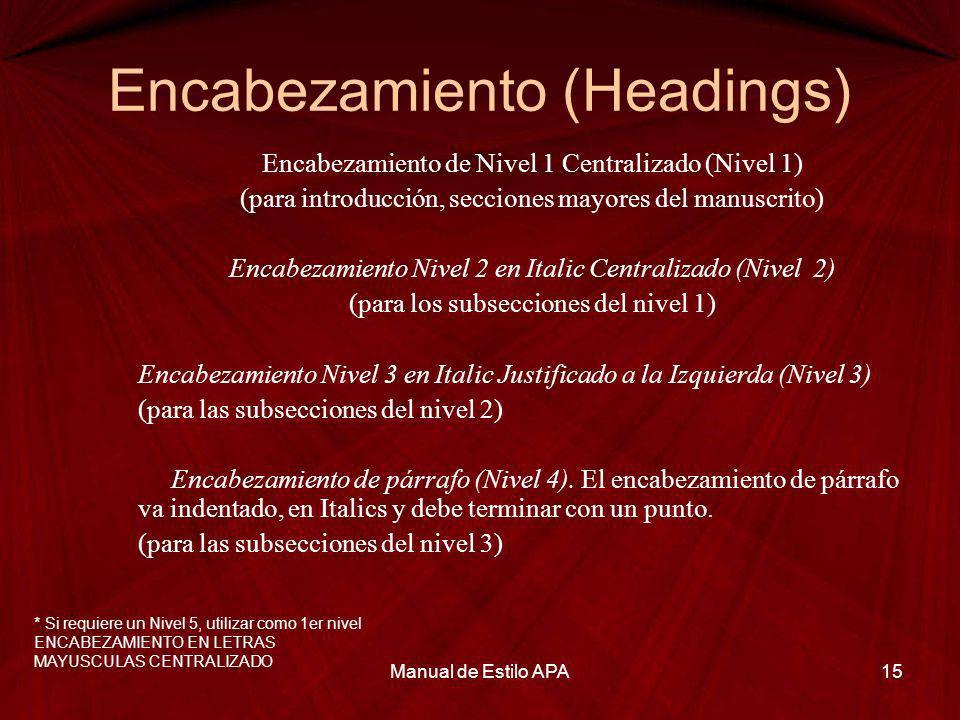 Encabezamiento (Headings) Encabezamiento de Nivel 1 Centralizado (Nivel 1) (para introducción, secciones mayores del manuscrito) Encabezamiento Nivel