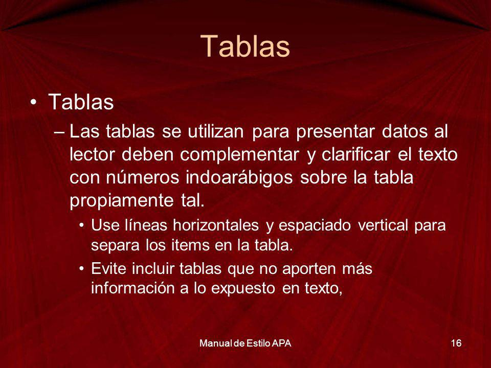 Tablas Manual de Estilo APA17