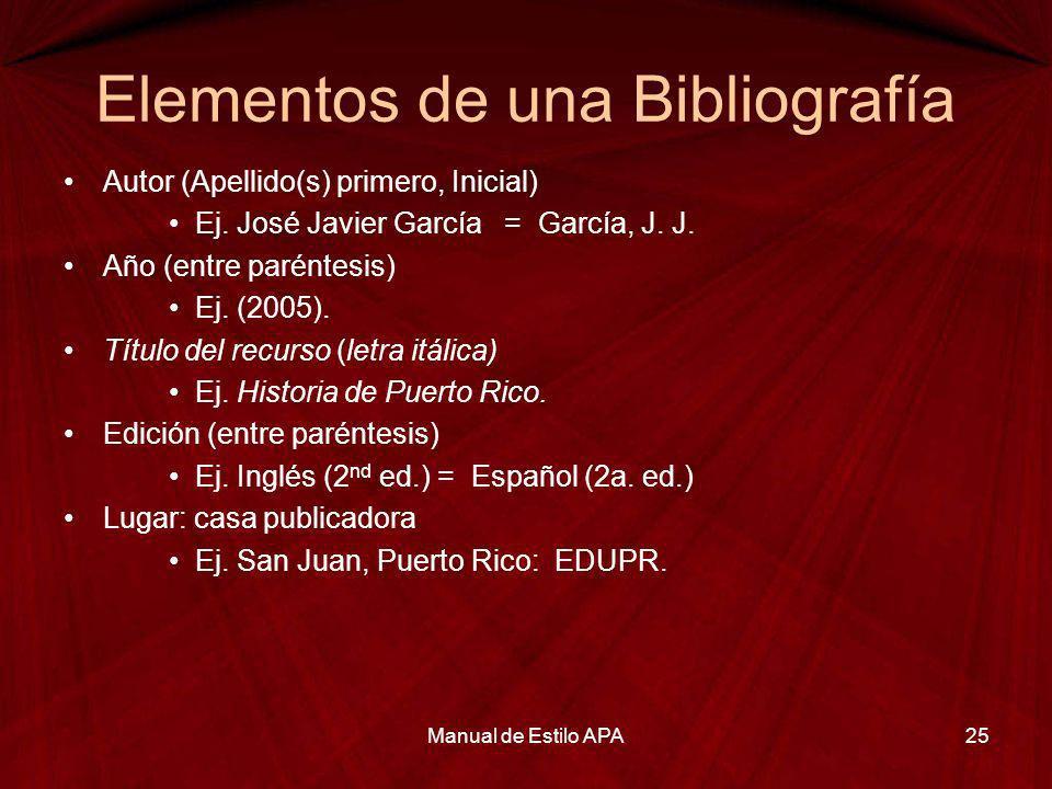 Elementos de una Bibliografía Autor (Apellido(s) primero, Inicial) Ej. José Javier García = García, J. J. Año (entre paréntesis) Ej. (2005). Título de