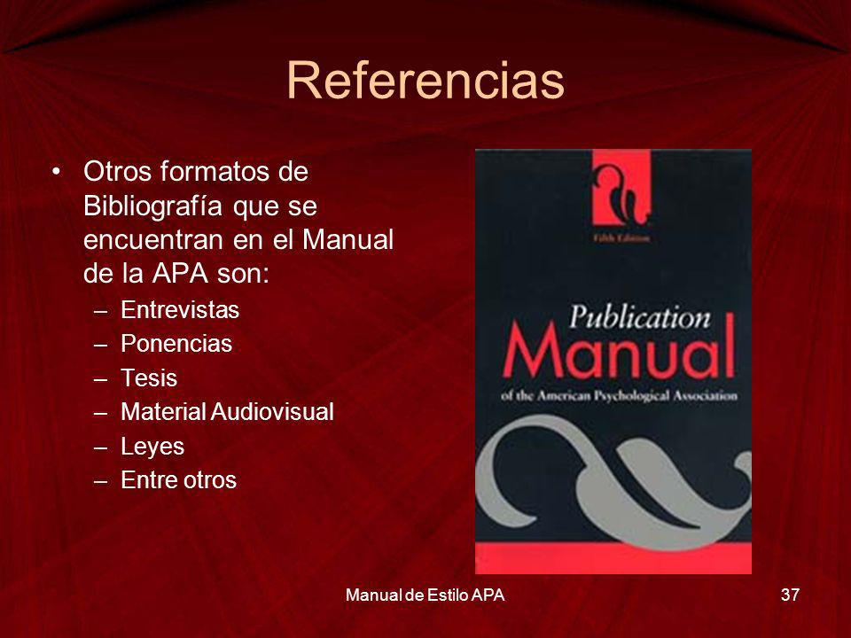 Referencias American Psychological Association.(2001).