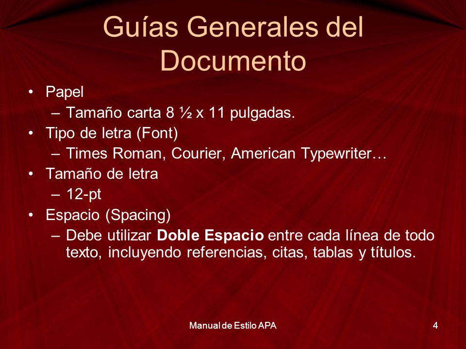 Guías Generales del Documento Papel –Tamaño carta 8 ½ x 11 pulgadas. Tipo de letra (Font) –Times Roman, Courier, American Typewriter… Tamaño de letra