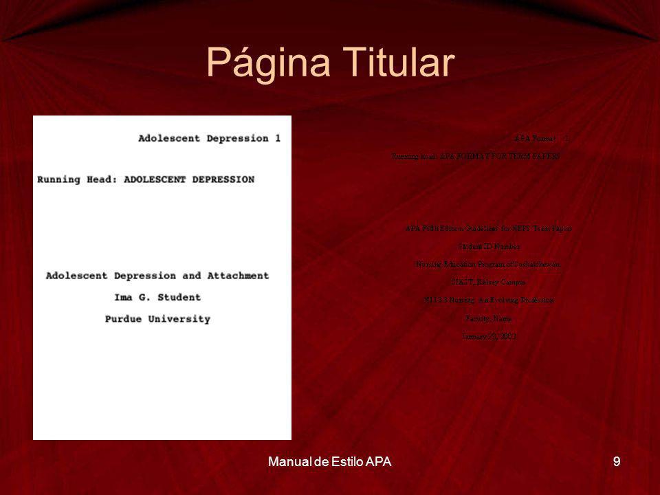 Página Titular Manual de Estilo APA9