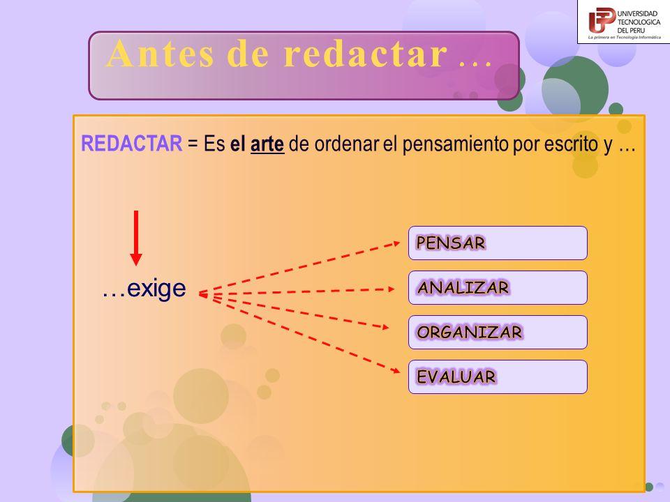 REDACTAR = Es el arte de ordenar el pensamiento por escrito y … …exige Antes de redactar …