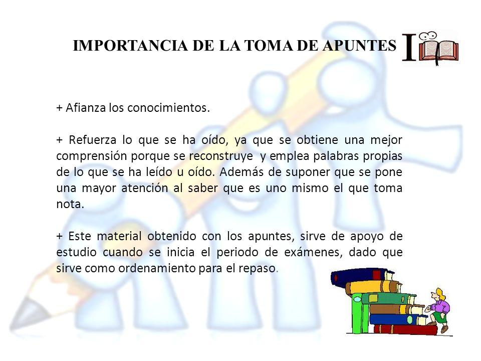 CARACTERISTICAS DE LOS APUNTES + Exactitud + Brevedad + Claridad + Orden y organización
