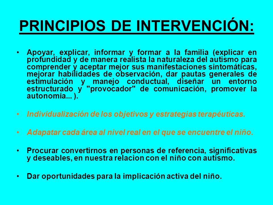 PRINCIPIOS DE INTERVENCIÓN: Apoyar, explicar, informar y formar a la familia (explicar en profundidad y de manera realista la naturaleza del autismo p