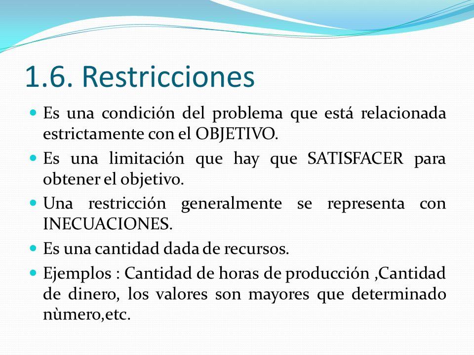 1.6. Restricciones Es una condición del problema que está relacionada estrictamente con el OBJETIVO. Es una limitación que hay que SATISFACER para obt