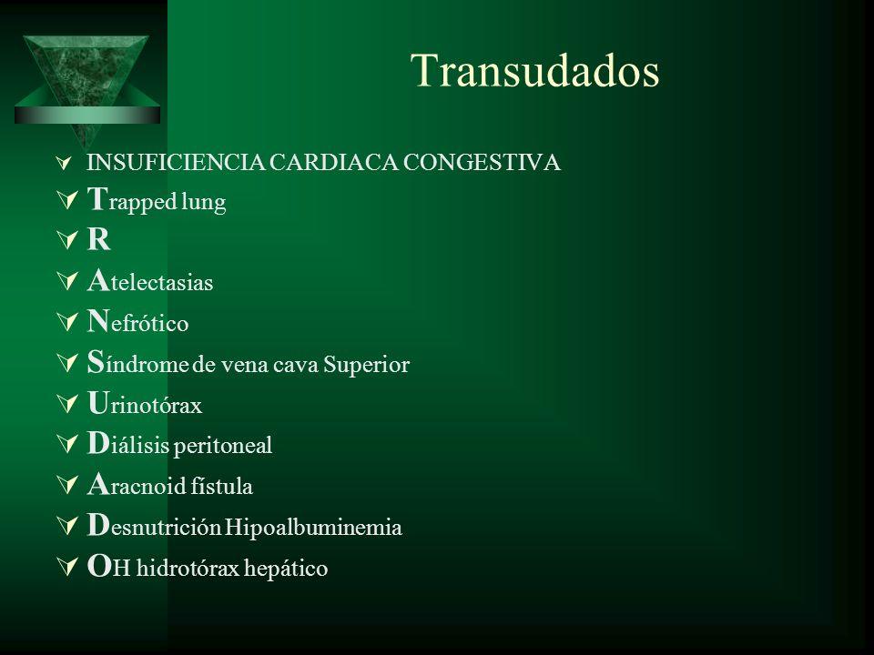 Transudados INSUFICIENCIA CARDIACA CONGESTIVA T rapped lung R A telectasias N efrótico S índrome de vena cava Superior U rinotórax D iálisis peritonea