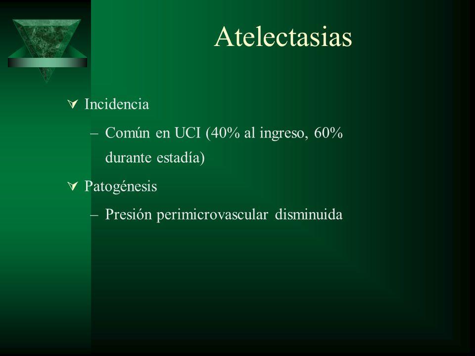 Atelectasias Incidencia –Común en UCI (40% al ingreso, 60% durante estadía) Patogénesis –Presión perimicrovascular disminuida