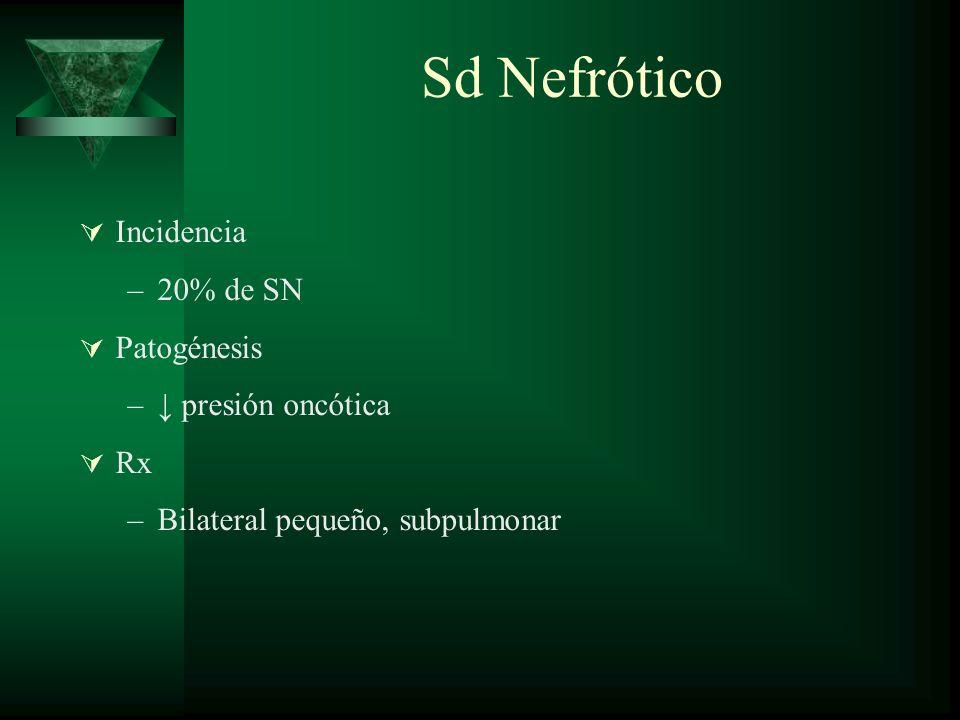 Sd Nefrótico Incidencia –20% de SN Patogénesis – presión oncótica Rx –Bilateral pequeño, subpulmonar