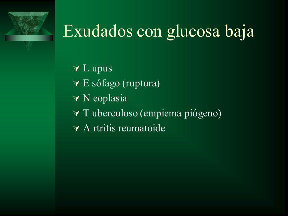 Exudados con glucosa baja L upus E sófago (ruptura) N eoplasia T uberculoso (empiema piógeno) A rtritis reumatoide