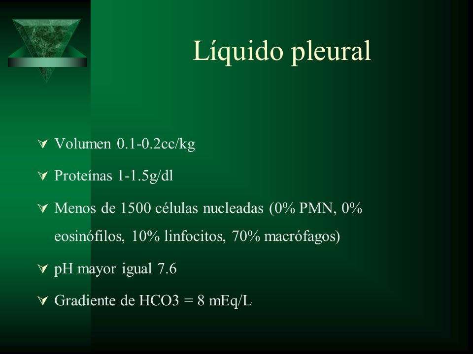 Líquido pleural Volumen 0.1-0.2cc/kg Proteínas 1-1.5g/dl Menos de 1500 células nucleadas (0% PMN, 0% eosinófilos, 10% linfocitos, 70% macrófagos) pH m