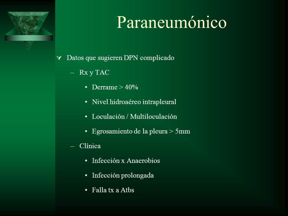 Paraneumónico Datos que sugieren DPN complicado –Rx y TAC Derrame > 40% Nivel hidroaéreo intrapleural Loculación / Multiloculación Egrosamiento de la