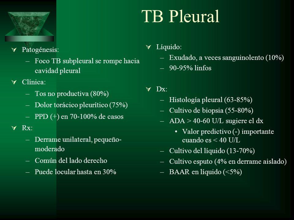TB Pleural Patogénesis: –Foco TB subpleural se rompe hacia cavidad pleural Clínica: –Tos no productiva (80%) –Dolor torácico pleurítico (75%) –PPD (+)