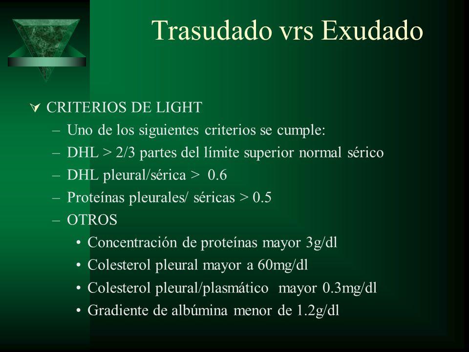 Trasudado vrs Exudado CRITERIOS DE LIGHT –Uno de los siguientes criterios se cumple: –DHL > 2/3 partes del límite superior normal sérico –DHL pleural/