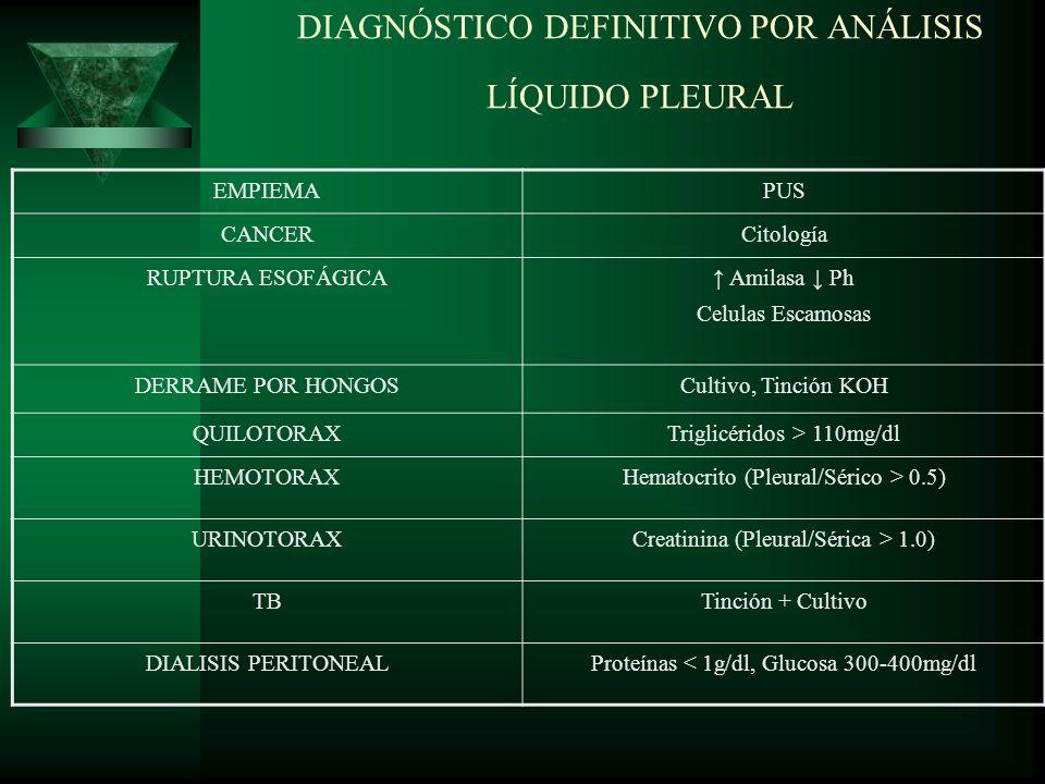 Exudados (Inflamación) I nfecciones (neumonías, TB, atípicas, hongos, parásitos, abscesos) N eoplasia F oma (Linfoma) L upus A rtritis reumatoide M esotelioma A bdominales (pancreatitis-ruptura esofágica) C hurg Strauss I potiroidismo O tras (SDRA-TEP) N itrógeno Uréico (Uremia)