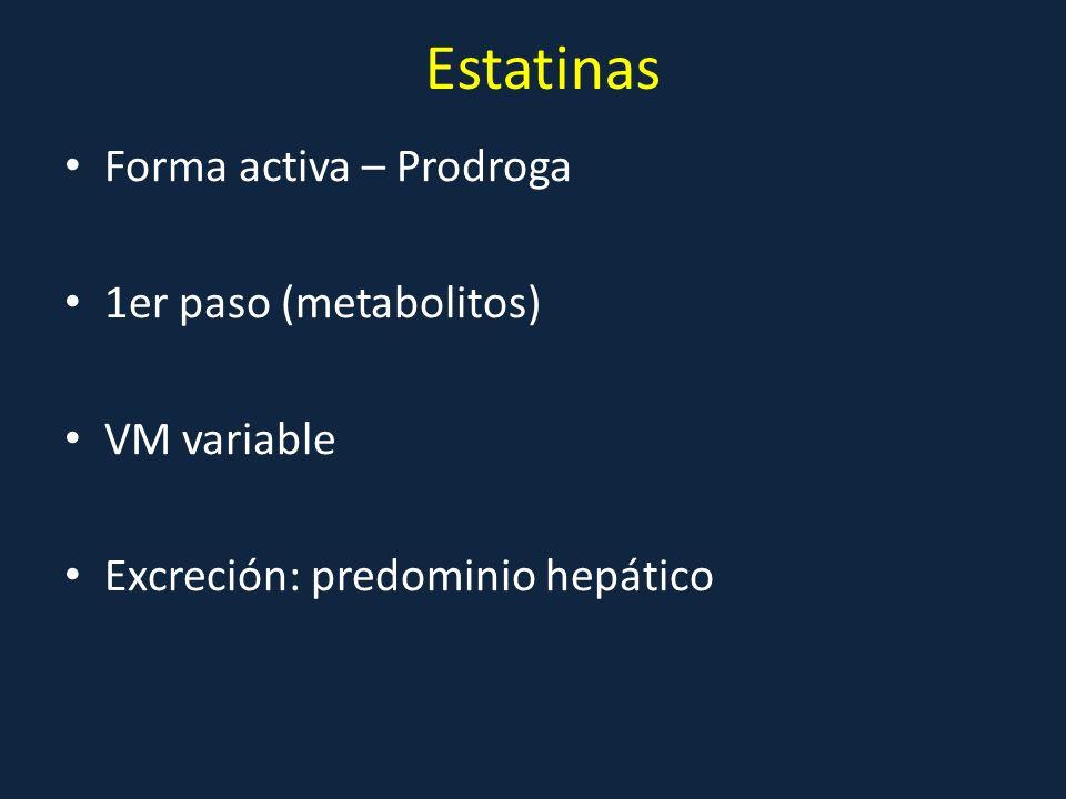 Estatinas Forma activa – Prodroga 1er paso (metabolitos) VM variable Excreción: predominio hepático