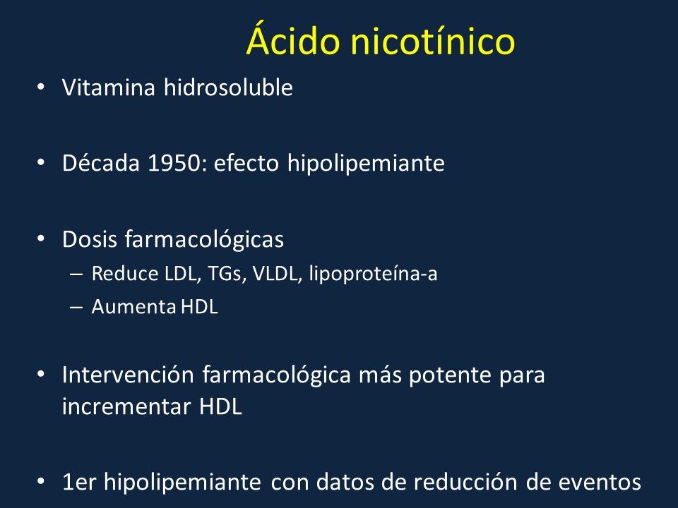 Ácido nicotínico Vitamina hidrosoluble Década 1950: efecto hipolipemiante Dosis farmacológicas – Reduce LDL, TGs, VLDL, lipoproteína-a – Aumenta HDL I