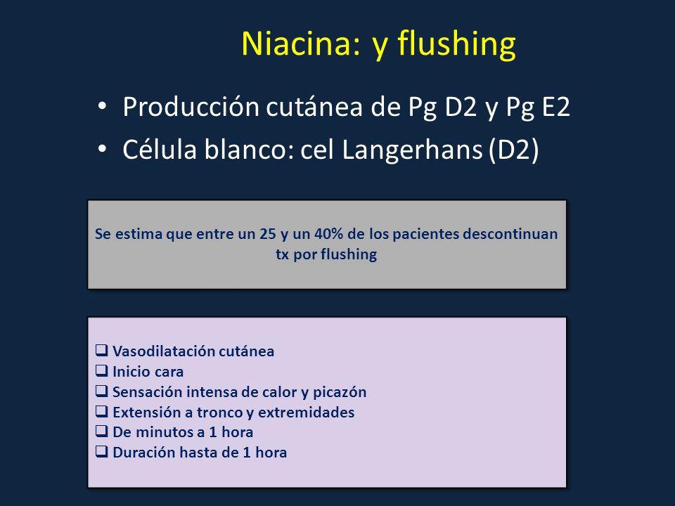 Producción cutánea de Pg D2 y Pg E2 Célula blanco: cel Langerhans (D2) Niacina: y flushing Se estima que entre un 25 y un 40% de los pacientes descont
