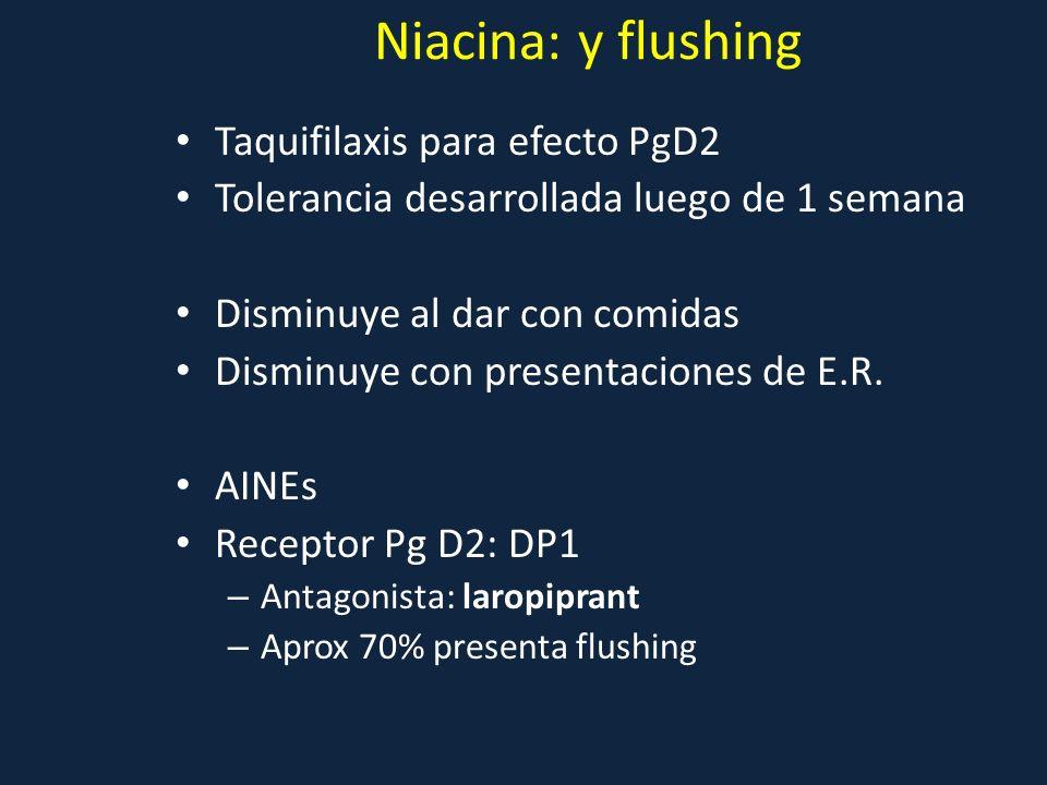 Niacina: y flushing Taquifilaxis para efecto PgD2 Tolerancia desarrollada luego de 1 semana Disminuye al dar con comidas Disminuye con presentaciones