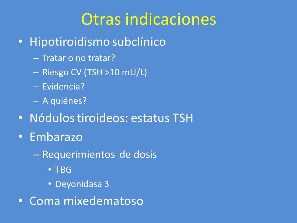 Otras indicaciones Hipotiroidismo subclínico – Tratar o no tratar? – Riesgo CV (TSH >10 mU/L) – Evidencia? – A quiénes? Nódulos tiroideos: estatus TSH