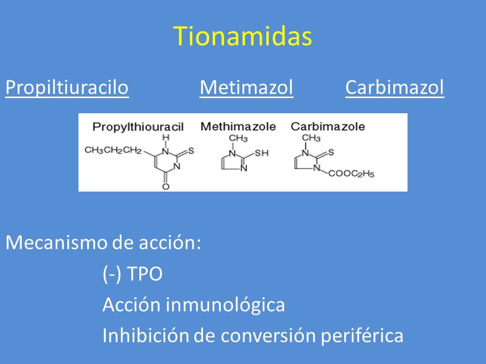Tionamidas Propiltiuracilo MetimazolCarbimazol Mecanismo de acción: (-) TPO Acción inmunológica Inhibición de conversión periférica