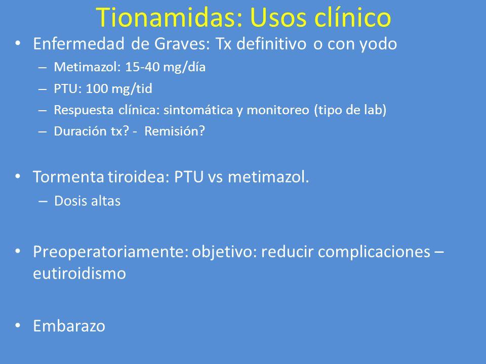 Tionamidas: Usos clínico Enfermedad de Graves: Tx definitivo o con yodo – Metimazol: 15-40 mg/día – PTU: 100 mg/tid – Respuesta clínica: sintomática y