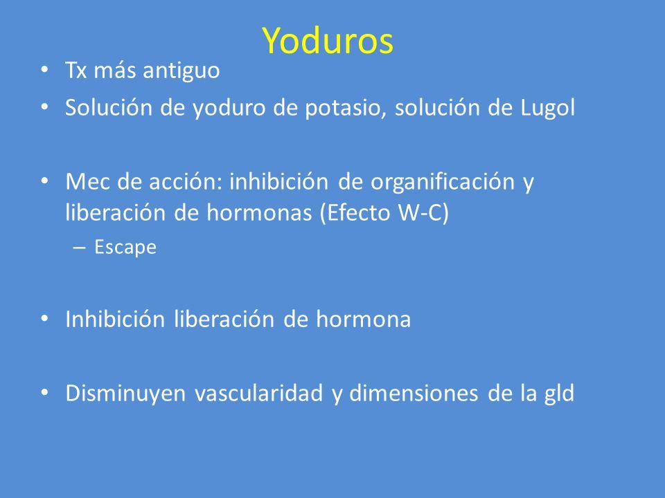 Yoduros Tx más antiguo Solución de yoduro de potasio, solución de Lugol Mec de acción: inhibición de organificación y liberación de hormonas (Efecto W