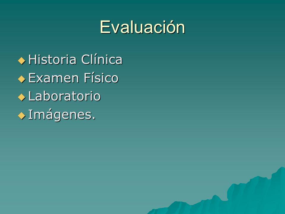 Evaluación Historia Clínica Historia Clínica Examen Físico Examen Físico Laboratorio Laboratorio Imágenes. Imágenes.