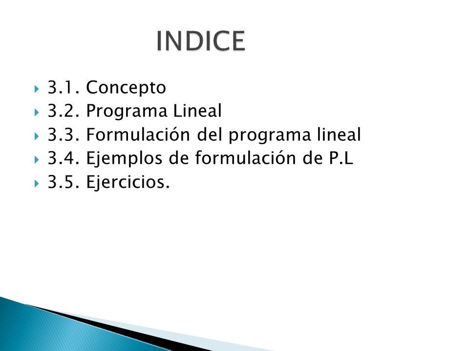 3.1. Concepto 3.2. Programa Lineal 3.3. Formulación del programa lineal 3.4. Ejemplos de formulación de P.L 3.5. Ejercicios.