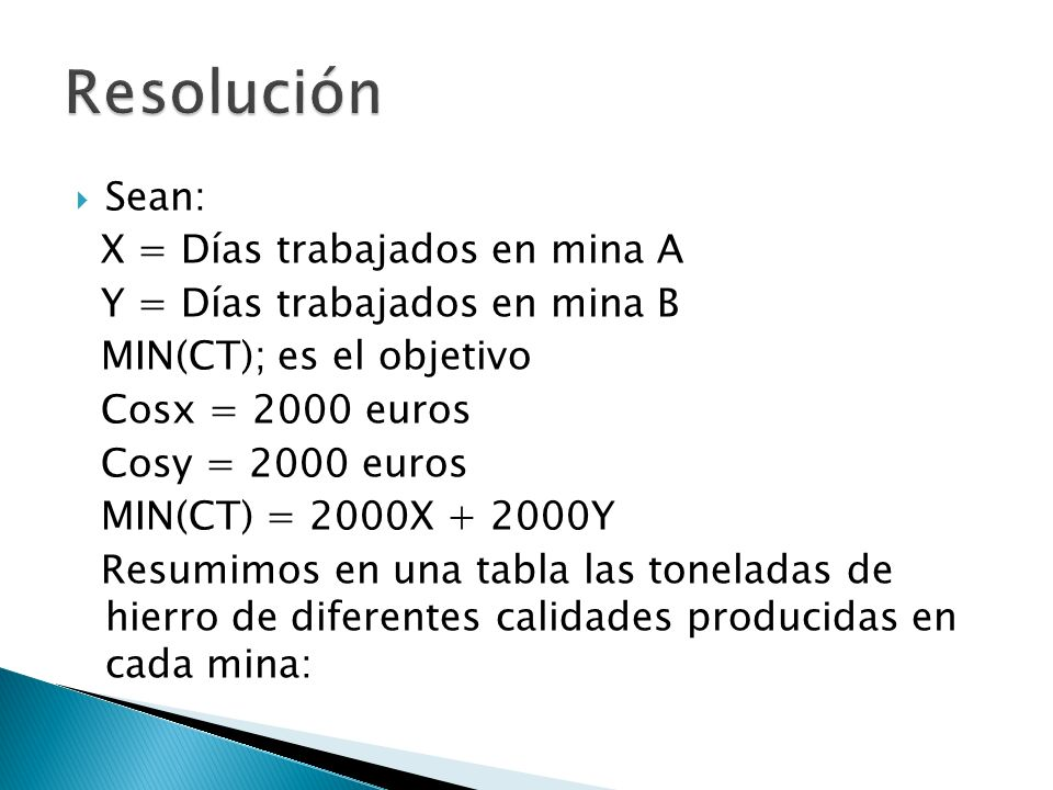 Sean: X = Días trabajados en mina A Y = Días trabajados en mina B MIN(CT); es el objetivo Cosx = 2000 euros Cosy = 2000 euros MIN(CT) = 2000X + 2000Y