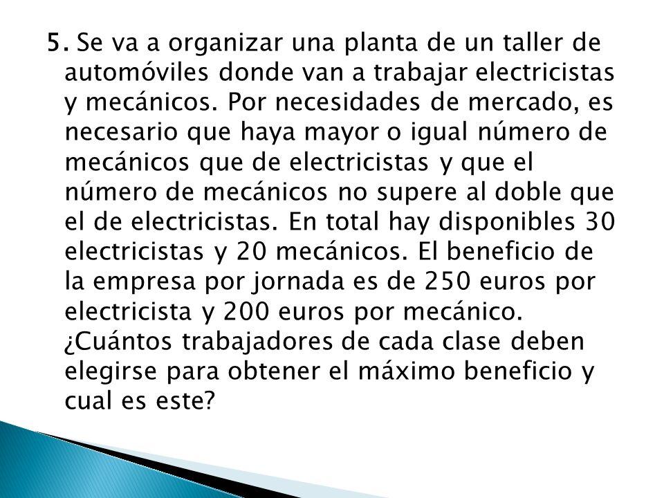 5. Se va a organizar una planta de un taller de automóviles donde van a trabajar electricistas y mecánicos. Por necesidades de mercado, es necesario q